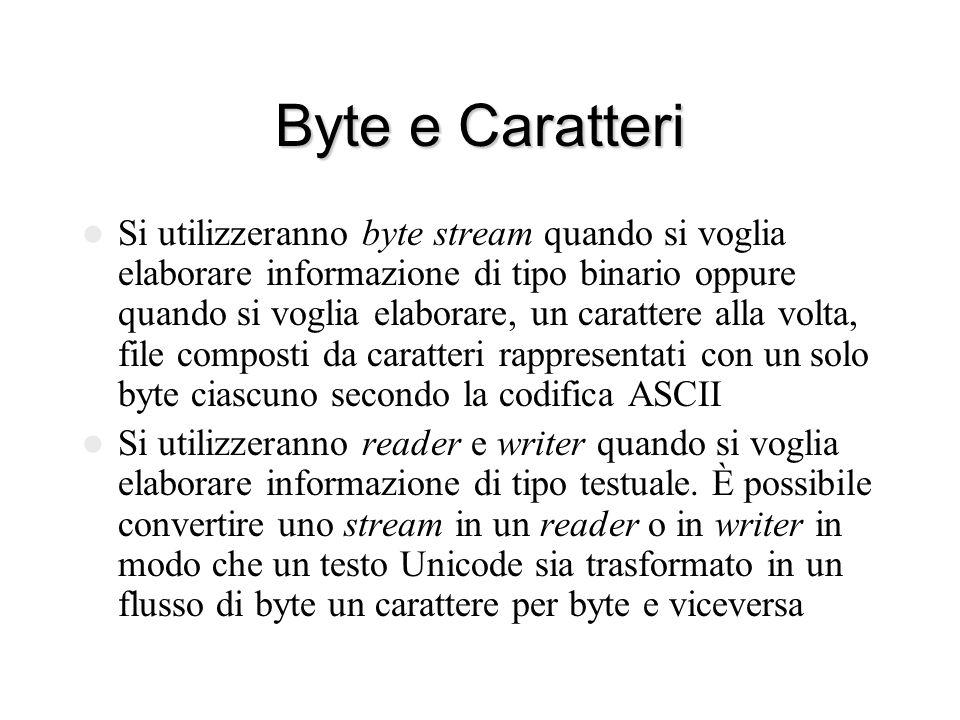 // Crea.java import java.io.*; public class Crea { public static void main (String[] arg) throws IOException { FileOutputStream out = new FileOutputStream(arg[0]); int n = Integer.parseInt(arg[1]); for (int i = 0; i < n; i++) out.write(i); out.close(); } $ java Crea file lunghezza