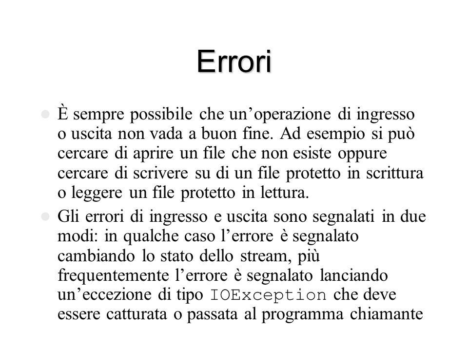 Errori È sempre possibile che un'operazione di ingresso o uscita non vada a buon fine.