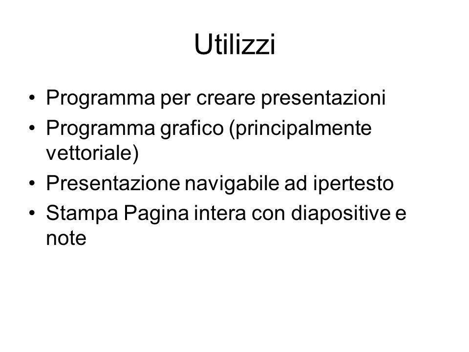 Utilizzi Programma per creare presentazioni Programma grafico (principalmente vettoriale) Presentazione navigabile ad ipertesto Stampa Pagina intera con diapositive e note