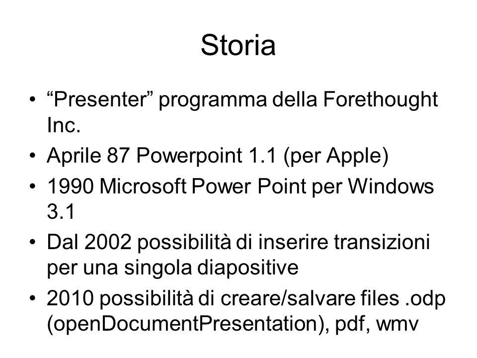 """Storia """"Presenter"""" programma della Forethought Inc. Aprile 87 Powerpoint 1.1 (per Apple) 1990 Microsoft Power Point per Windows 3.1 Dal 2002 possibili"""