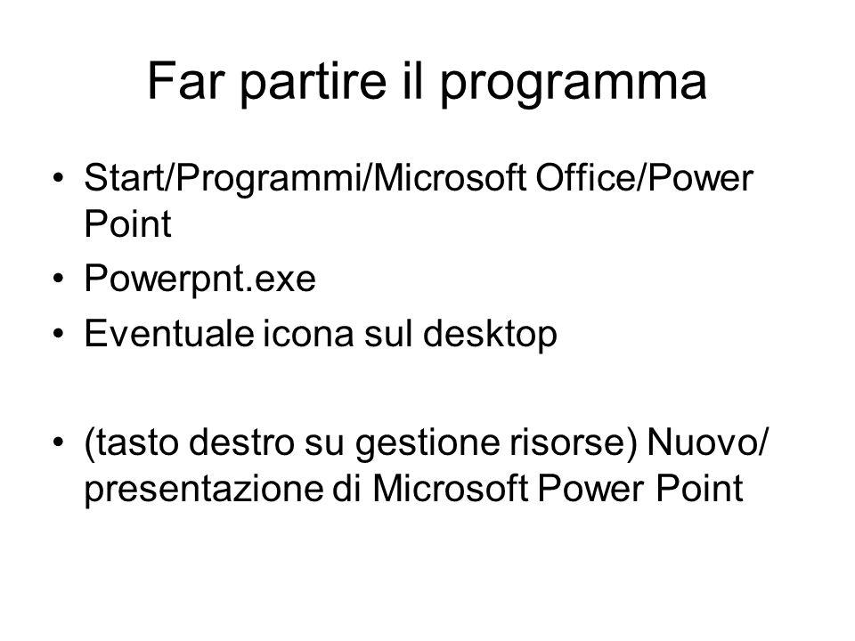 Far partire il programma Start/Programmi/Microsoft Office/Power Point Powerpnt.exe Eventuale icona sul desktop (tasto destro su gestione risorse) Nuovo/ presentazione di Microsoft Power Point
