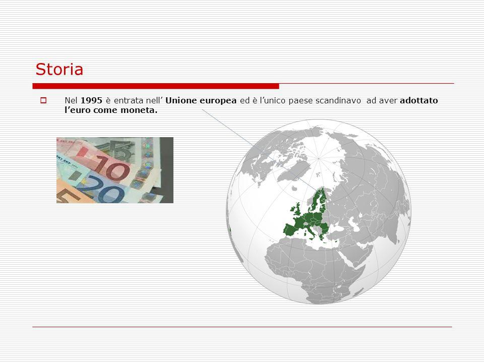 Storia  Nel 1995 è entrata nell' Unione europea ed è l'unico paese scandinavo ad aver adottato l'euro come moneta.