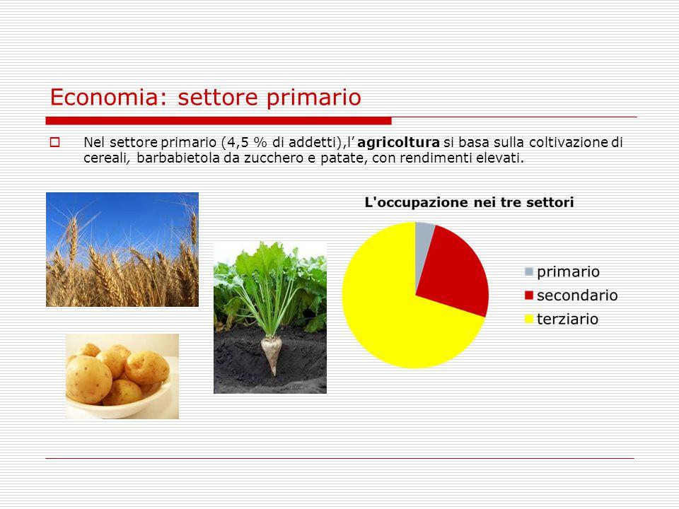 Economia: settore primario  Nel settore primario (4,5 % di addetti),l' agricoltura si basa sulla coltivazione di cereali, barbabietola da zucchero e