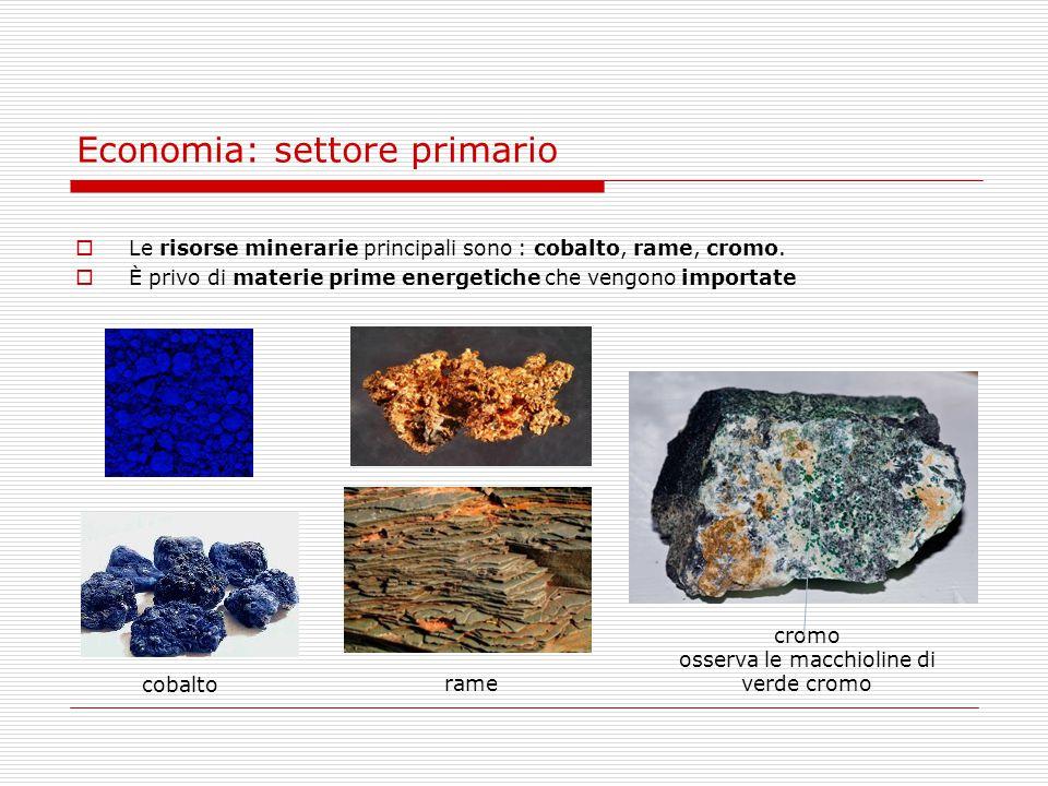 Economia: settore primario  Le risorse minerarie principali sono : cobalto, rame, cromo.  È privo di materie prime energetiche che vengono importate
