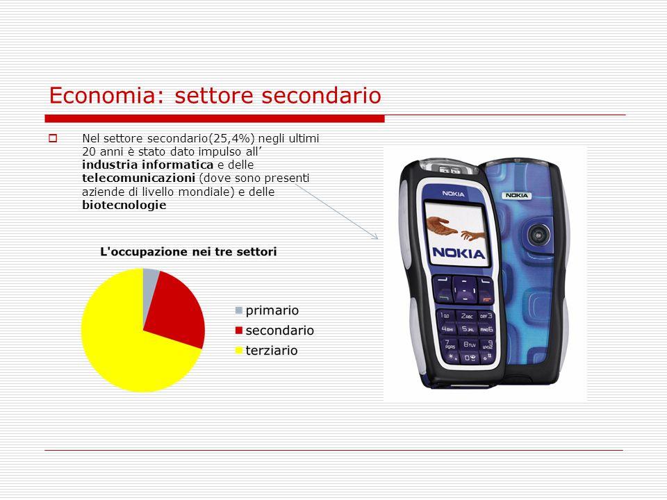 Economia: settore secondario  Nel settore secondario(25,4%) negli ultimi 20 anni è stato dato impulso all' industria informatica e delle telecomunica