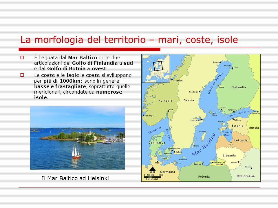 La morfologia del territorio – mari, coste, isole  È bagnata dal Mar Baltico nelle due articolazioni del Golfo di Finlandia a sud e dal Golfo di Botn