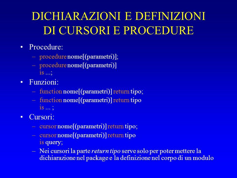 DICHIARAZIONI E DEFINIZIONI DI CURSORI E PROCEDURE Procedure: –procedure nome[(parametri)]; –procedure nome[(parametri)] is...; Funzioni: –function nome[(parametri)] return tipo; –function nome[(parametri)] return tipo is...