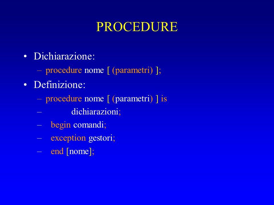 PROCEDURE Dichiarazione: –procedure nome [ (parametri) ]; Definizione: –procedure nome [ (parametri) ] is – dichiarazioni; –begin comandi; –exception gestori; –end [nome];