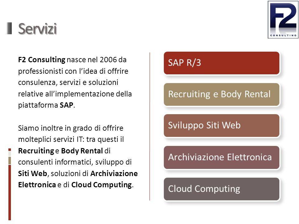 Servizi F2 Consulting nasce nel 2006 da professionisti con l'idea di offrire consulenza, servizi e soluzioni relative all'implementazione della piattaforma SAP.