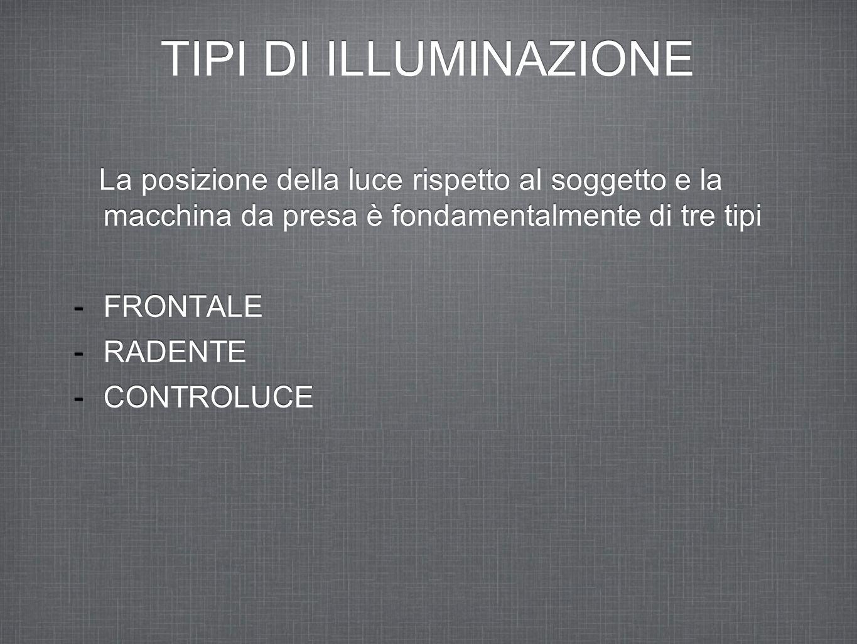 TIPI DI ILLUMINAZIONE La posizione della luce rispetto al soggetto e la macchina da presa è fondamentalmente di tre tipi -FRONTALE -RADENTE -CONTROLUC