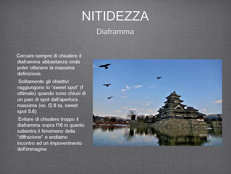 NITIDEZZA Diaframma Cercare sempre di chiudere il diaframma abbastanza onde poter ottenere la massima definizione. Solitamente gli obiettivi raggiungo