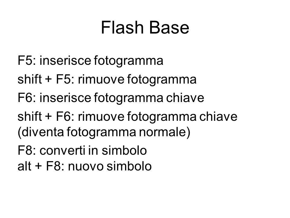 Flash Base F5: inserisce fotogramma shift + F5: rimuove fotogramma F6: inserisce fotogramma chiave shift + F6: rimuove fotogramma chiave (diventa fotogramma normale) F8: converti in simbolo alt + F8: nuovo simbolo