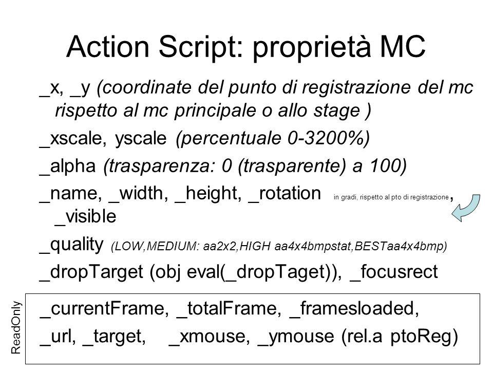ActionScript: proprietà movieclip _visible: true|false un oggetto non visibile non risponde agli eventi del mouse _alpha: 0-100 0 oggetto completamente trasparente (invisibile ma cliccabile) 100 completamente opaco _yscale, _xscale: di base valgono 100 e indicano di quanto può essere ridotto o ampliato l oggetto.