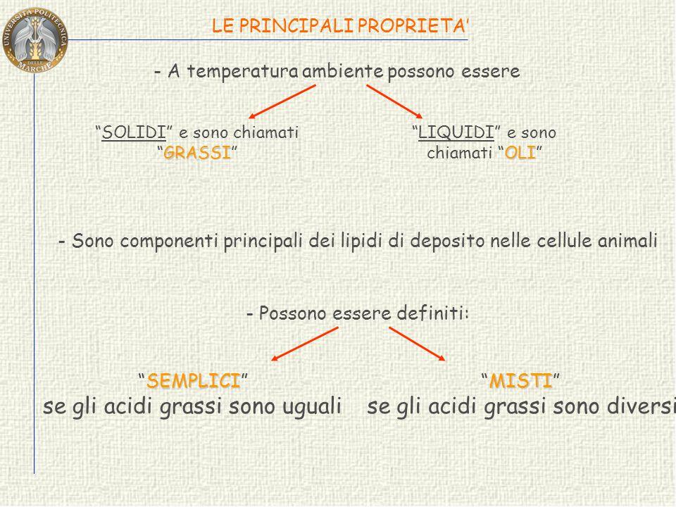 ACILGLICEROLI o TRIGLICERIDI Sono esteri degli acidi grassi e di un alcol a tre atomi di carbonio C C C H 2 O H H O H Glicerolo CCCCC CCCCC CCCCC Acid