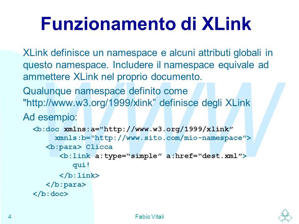 WWW Fabio Vitali4 Funzionamento di XLink XLink definisce un namespace e alcuni attributi globali in questo namespace. Includere il namespace equivale