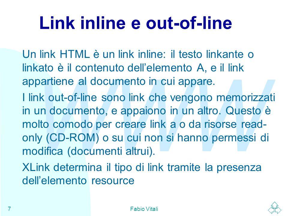 WWW Fabio Vitali7 Link inline e out-of-line Un link HTML è un link inline: il testo linkante o linkato è il contenuto dell'elemento A, e il link appartiene al documento in cui appare.