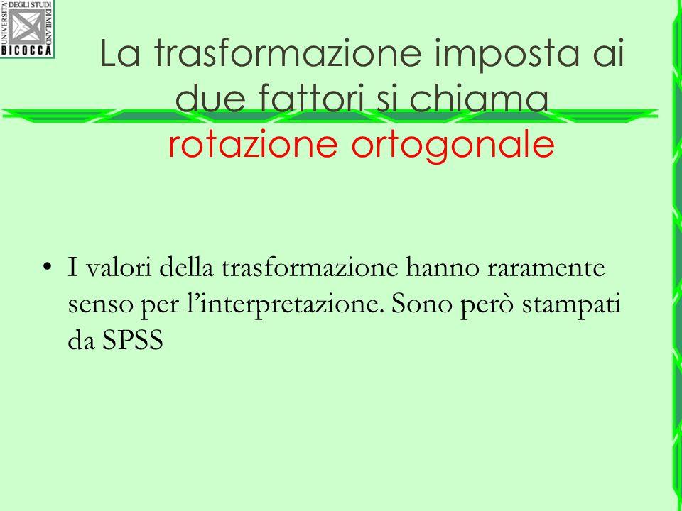 La trasformazione imposta ai due fattori si chiama rotazione ortogonale I valori della trasformazione hanno raramente senso per l'interpretazione. Son