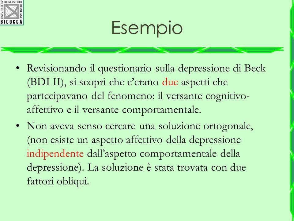Esempio Revisionando il questionario sulla depressione di Beck (BDI II), si scoprì che c'erano due aspetti che partecipavano del fenomeno: il versante