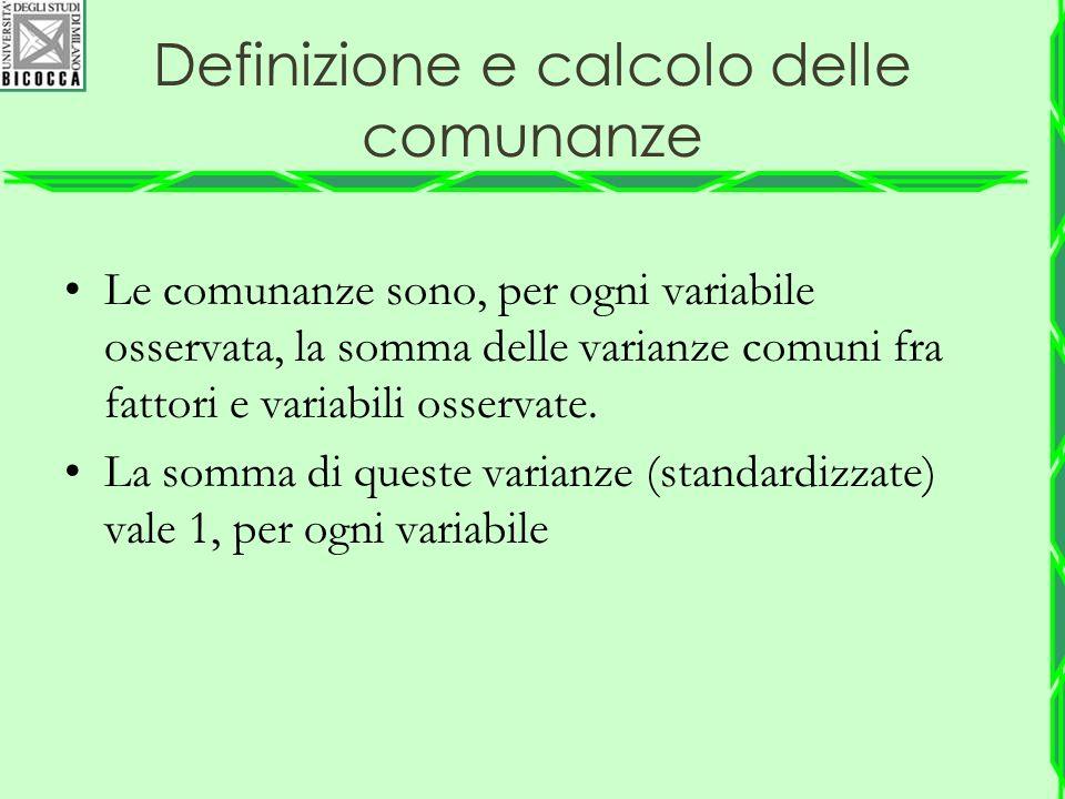 Definizione e calcolo delle comunanze Le comunanze sono, per ogni variabile osservata, la somma delle varianze comuni fra fattori e variabili osservat
