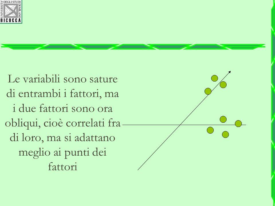 Le variabili sono sature di entrambi i fattori, ma i due fattori sono ora obliqui, cioè correlati fra di loro, ma si adattano meglio ai punti dei fatt