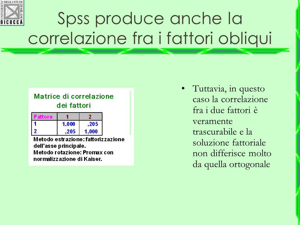 Spss produce anche la correlazione fra i fattori obliqui Tuttavia, in questo caso la correlazione fra i due fattori è veramente trascurabile e la solu