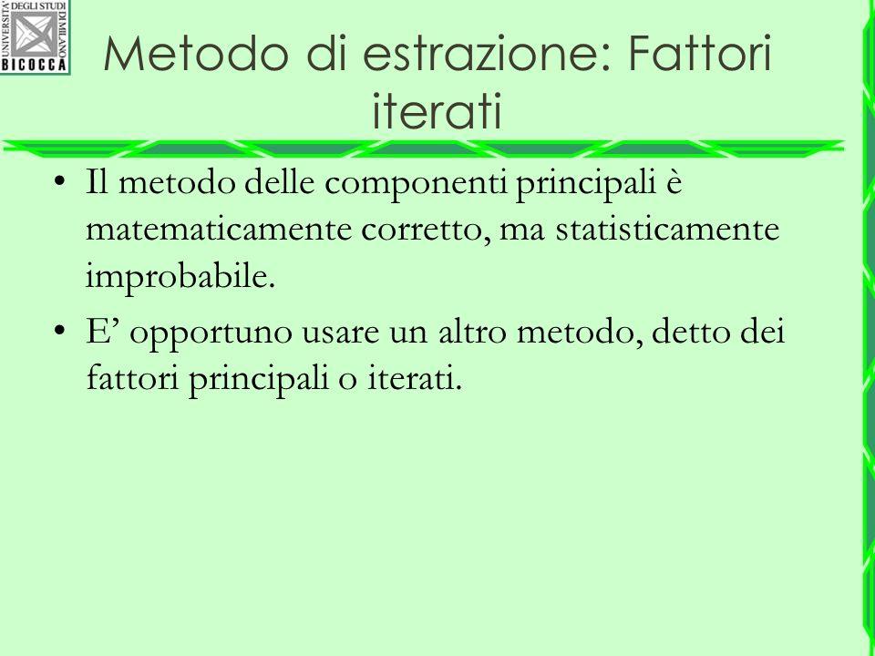 Metodo di estrazione: Fattori iterati Il metodo delle componenti principali è matematicamente corretto, ma statisticamente improbabile. E' opportuno u