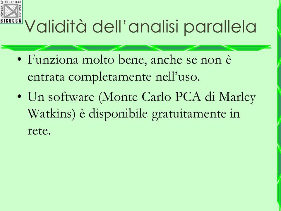 Validità dell'analisi parallela Funziona molto bene, anche se non è entrata completamente nell'uso. Un software (Monte Carlo PCA di Marley Watkins) è