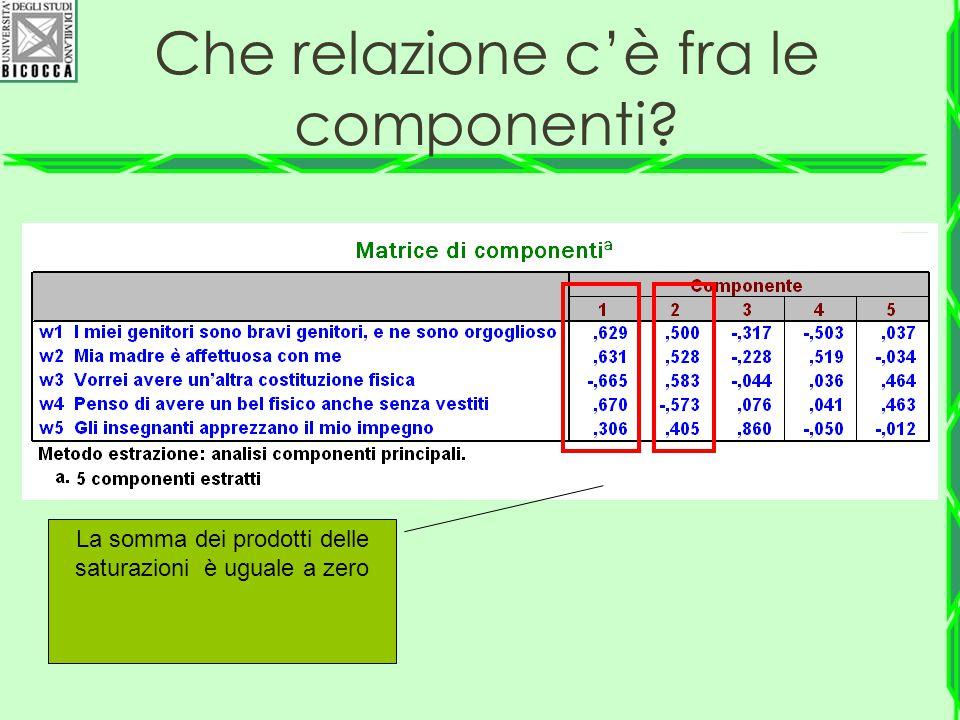 La somma dei prodotti delle saturazioni è uguale a zero Che relazione c'è fra le componenti?