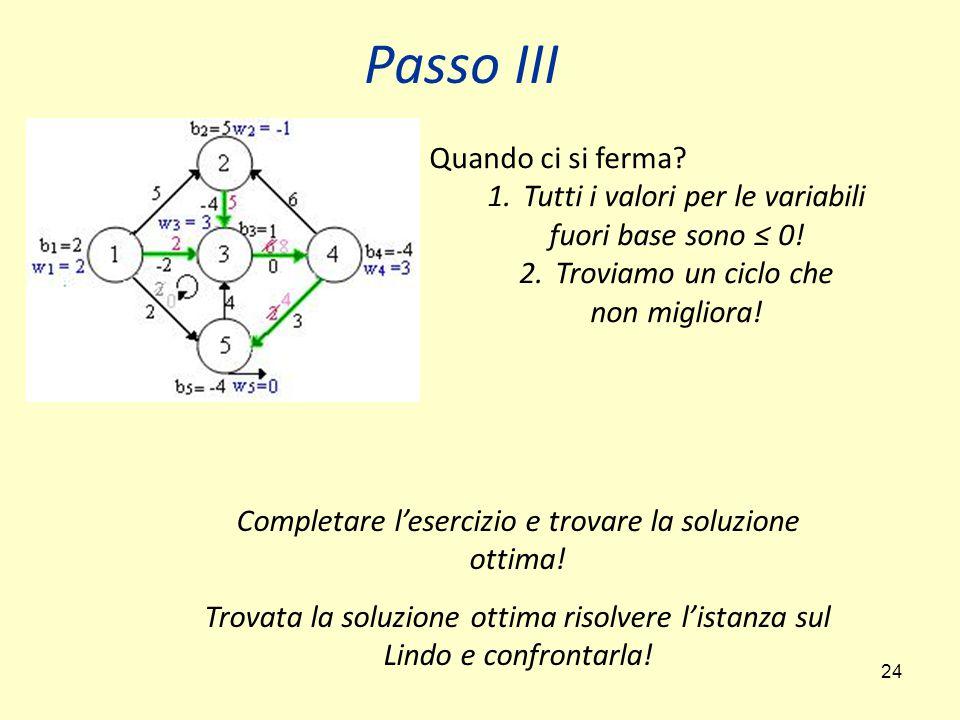 24 Passo III Quando ci si ferma? 1.Tutti i valori per le variabili fuori base sono ≤ 0! 2.Troviamo un ciclo che non migliora! Completare l'esercizio e