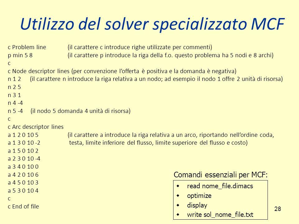 28 Utilizzo del solver specializzato MCF c Problem line (il carattere c introduce righe utilizzate per commenti) p min 5 8(il carattere p introduce la riga della f.o.