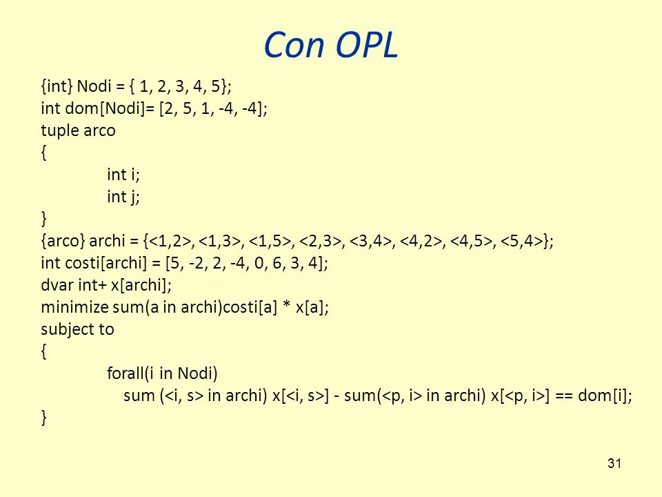 31 {int} Nodi = { 1, 2, 3, 4, 5}; int dom[Nodi]= [2, 5, 1, -4, -4]; tuple arco { int i; int j; } {arco} archi = {,,,,,,, }; int costi[archi] = [5, -2, 2, -4, 0, 6, 3, 4]; dvar int+ x[archi]; minimize sum(a in archi)costi[a] * x[a]; subject to { forall(i in Nodi) sum ( in archi) x[ ] - sum( in archi) x[ ] == dom[i]; } Con OPL