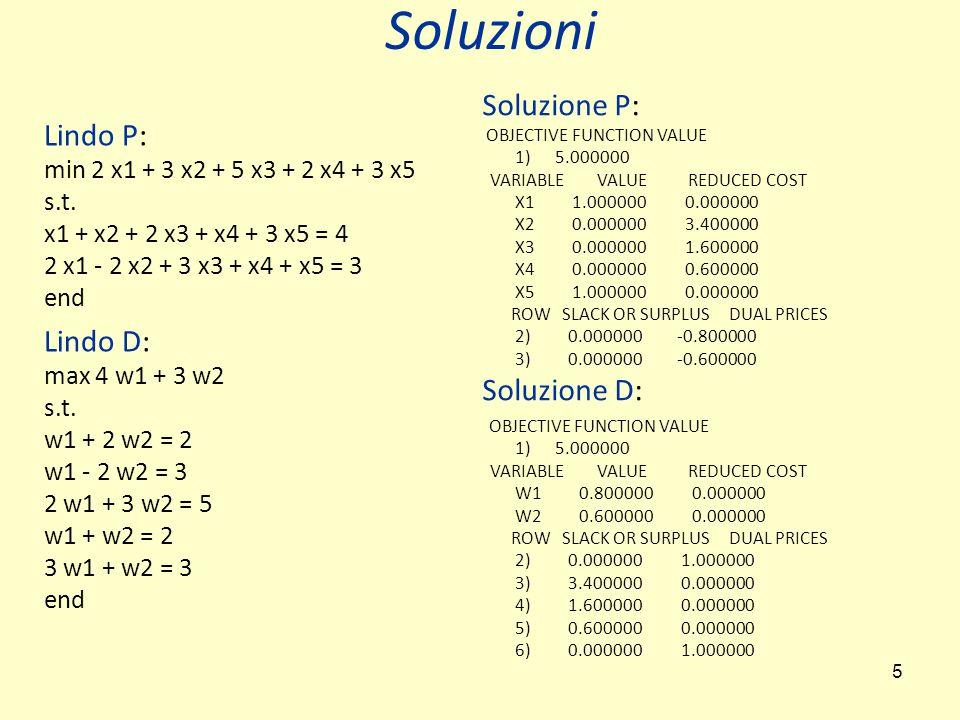 5 Lindo P: min 2 x1 + 3 x2 + 5 x3 + 2 x4 + 3 x5 s.t.