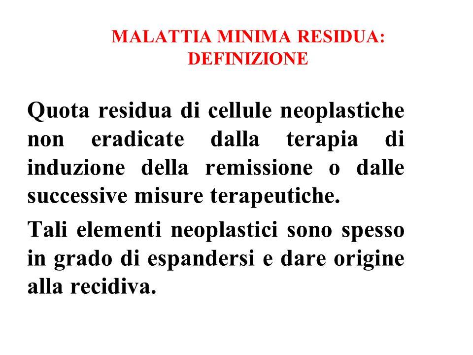 MALATTIA MINIMA RESIDUA: DEFINIZIONE Quota residua di cellule neoplastiche non eradicate dalla terapia di induzione della remissione o dalle successiv