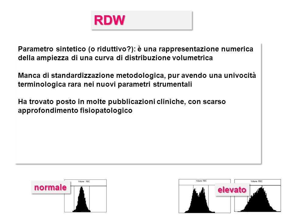 RDWRDW Parametro sintetico (o riduttivo?): è una rappresentazione numerica della ampiezza di una curva di distribuzione volumetrica Manca di standardi
