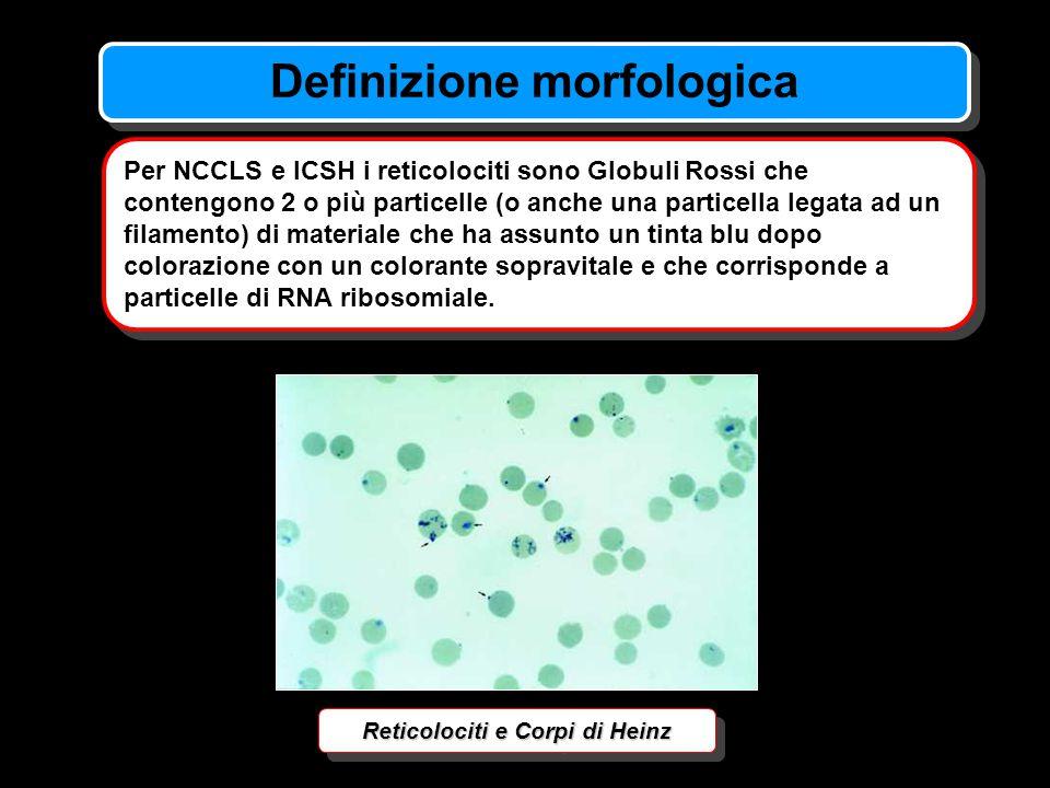 Definizione morfologica Per NCCLS e ICSH i reticolociti sono Globuli Rossi che contengono 2 o più particelle (o anche una particella legata ad un fila