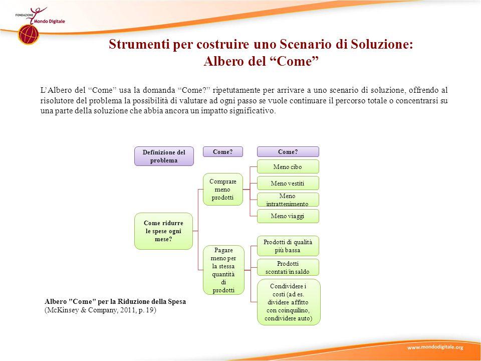 """L'Albero del """"Come"""" usa la domanda """"Come?"""" ripetutamente per arrivare a uno scenario di soluzione, offrendo al risolutore del problema la possibilità"""