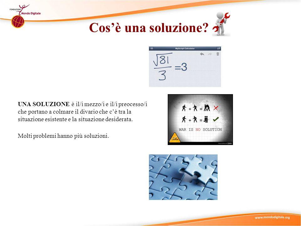 Cos'è una soluzione? UNA SOLUZIONE è il/i mezzo/i e il/i preocesso/i che portano a colmare il divario che c'è tra la situazione esistente e la situazi