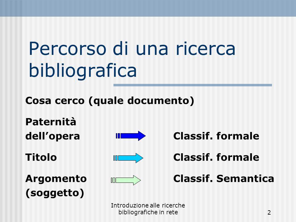 2 Percorso di una ricerca bibliografica Cosa cerco (quale documento) Paternità dell'operaClassif.
