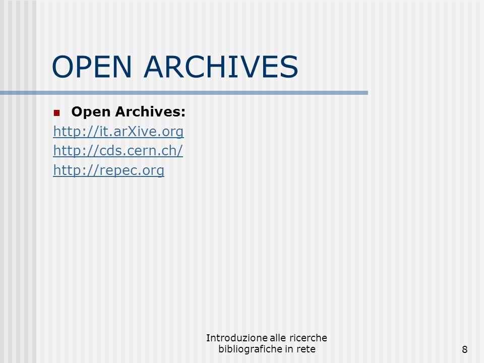 Introduzione alle ricerche bibliografiche in rete9 Altri collegamenti istituzionali Library of Congress http://www.loc.gov/ Unesco http://www.unesco.org ILO http://www.ilo.org