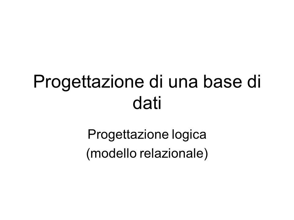 Progettazione di una base di dati Progettazione logica (modello relazionale)