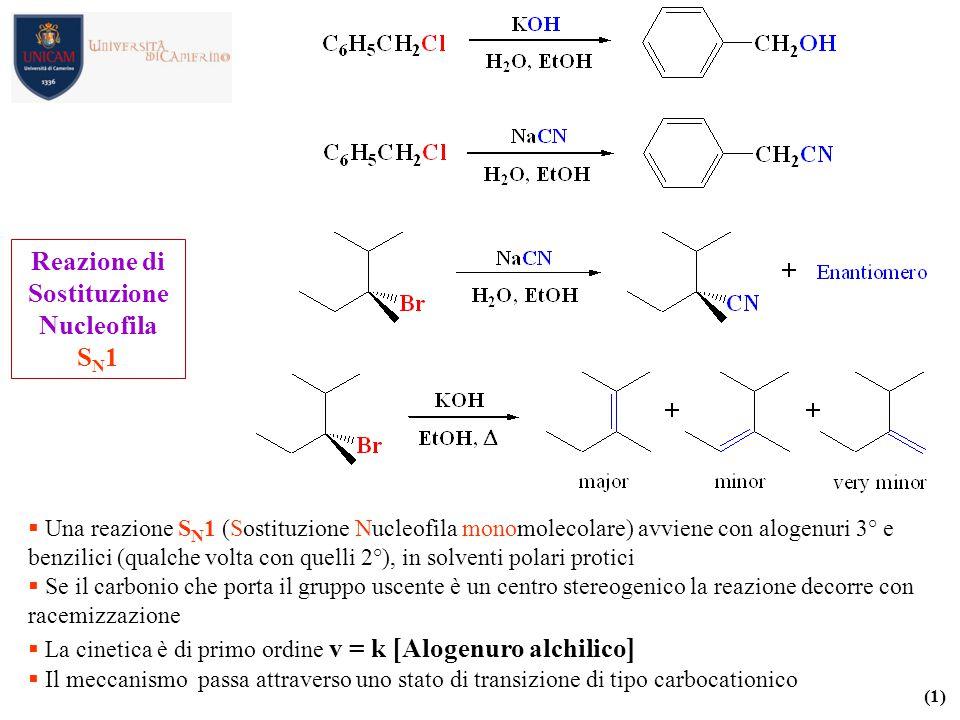  Una reazione S N 1 (Sostituzione Nucleofila monomolecolare) avviene con alogenuri 3° e benzilici (qualche volta con quelli 2°), in solventi polari p