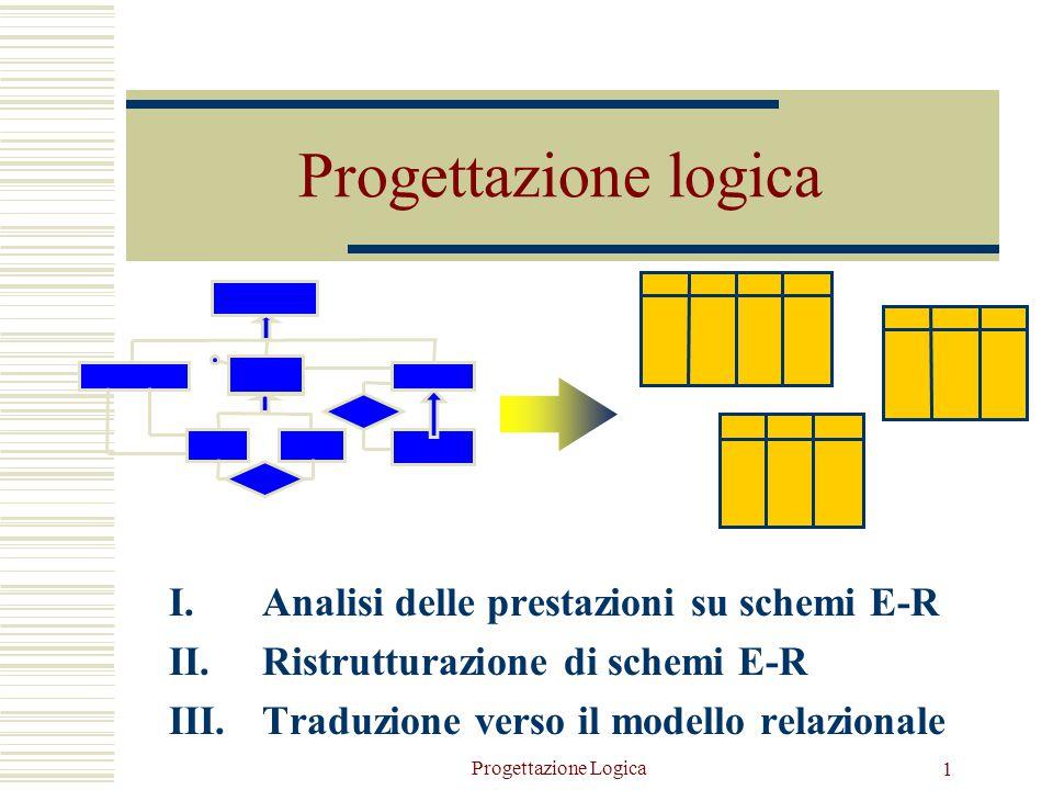 Progettazione Logica 1 Progettazione logica I.Analisi delle prestazioni su schemi E-R II.Ristrutturazione di schemi E-R III.Traduzione verso il modello relazionale