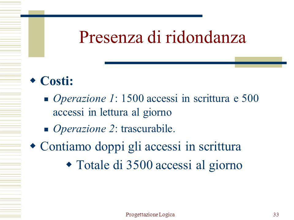 Progettazione Logica32 Assenza di ridondanza Operazione 1 Operazione 2 n.persone/n.città = media accessi per calcolare il numero di abitanti di una ci