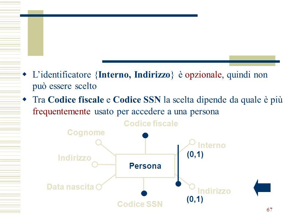 Progettazione Logica66 Se nessuno degli identificatori soddisfa i requisiti visti? Si introducono nuovi attributi (codici) contenenti valori speciali
