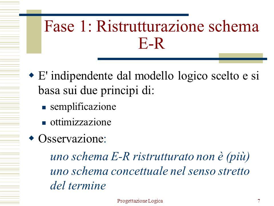 Progettazione Logica7 Fase 1: Ristrutturazione schema E-R  E indipendente dal modello logico scelto e si basa sui due principi di: semplificazione ottimizzazione  Osservazione: uno schema E-R ristrutturato non è (più) uno schema concettuale nel senso stretto del termine