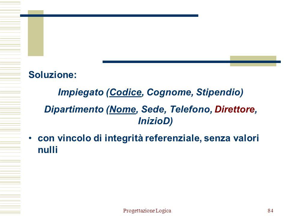 Progettazione Logica83 Relationship uno a uno (0,1) – (1,1) Impiegato(Codice, Cognome, Stipendio, Dipartimento*, DataInizio*) Dipartimento(Nome, Sede,