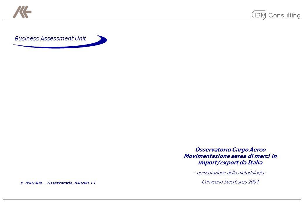 P. 0501404 – Osservatorio_040708 E1 Osservatorio Cargo Aereo Movimentazione aerea di merci in import/export da Italia - presentazione della metodologi