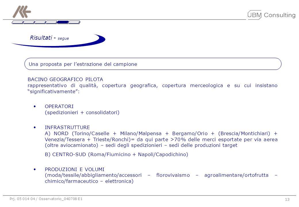 Prj. 05 014 04 / Osservatorio_040708 E1 13 Una proposta per l'estrazione del campione BACINO GEOGRAFICO PILOTA rappresentativo di qualità, copertura g