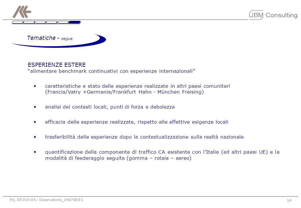 """Prj. 05 014 04 / Osservatorio_040708 E1 14 ESPERIENZE ESTERE """"alimentare benchmark continuativi con esperienze internazionali"""" caratteristiche e stato"""