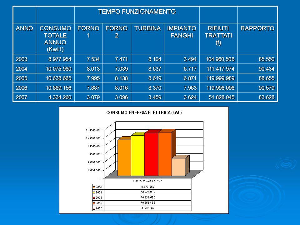 TEMPO FUNZIONAMENTO ANNO CONSUMO TOTALE ANNUO (KwH) FORNO 1 FORNO 2 TURBINA IMPIANTO FANGHI RIFIUTI TRATTATI (t) RAPPORTO 20038.977.9547.5347.4718.104